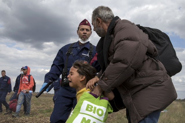 A Hungarian policeman attempts to stop a migrant and a child to run from a collection point in Roszke village, Hungary, September 8, 2015. (Photo by Marko Djurica/Reuters)