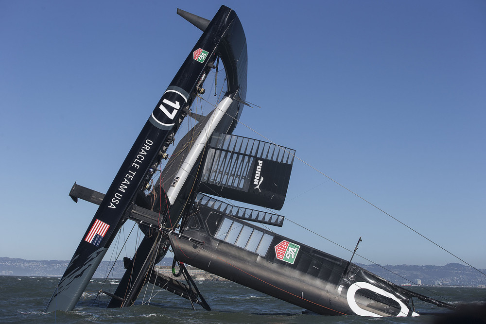 Oracle Team USA Capsizes Its Biggest, Baddest Boat