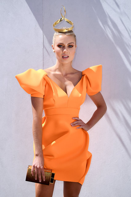 Elyse Knowles poses on Melbourne Cup Day at Flemington Racecourse on November 7, 2017 in Melbourne, Australia. (Photo by Dan Himbrechts/AAP)