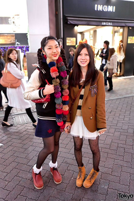Two girls on Shibuya Center Street in Tokyo in January of 2012. (Tokyo Fashion)