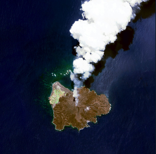Nishinoshima is a volcanic island located 940 km (584 miles) south of Tokyo, Japan. Starting in November 2013, the volcano began to erupt and continued to do so until August 2015. Over the course of the eruption, the area of the island grew in size from 0.06 sq km (0.02 sq miles) to 2.3 sq km. (Photo by Benjamin Grant/Penguin Random House)