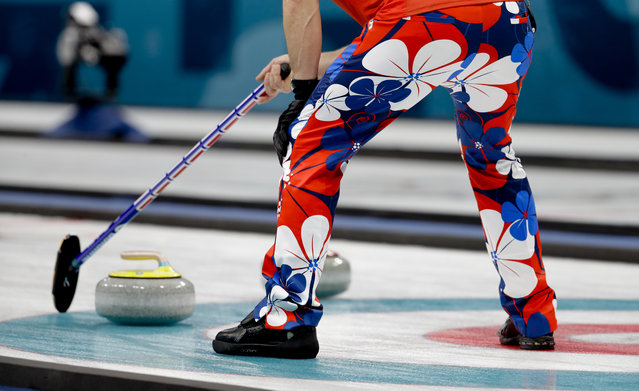 Norway's skip Thomas Ulsrud holds his broom during a men's curling match against Italy at the 2018 Winter Olympics in Gangneung, South Korea, Tuesday, February 20, 2018. (Photo by Natacha Pisarenko/AP Photo)