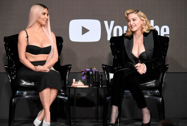 Kim Kardashian West and Madonna speak onstage at MDNA SKIN hosts Madonna and Kim Kardashian West for a beauty conversation at YouTube Space LA on March 6, 2018 in Los Angeles, California. (Photo by Kevin Mazur/Getty Images for Madonna's MDNA SKIN)