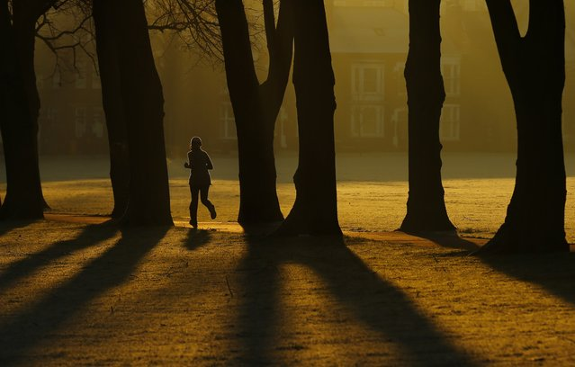 A woman runs through Victoria Park at sunrise in Leicester, central England, December 30, 2014. (Photo by Darren Staples/Reuters)