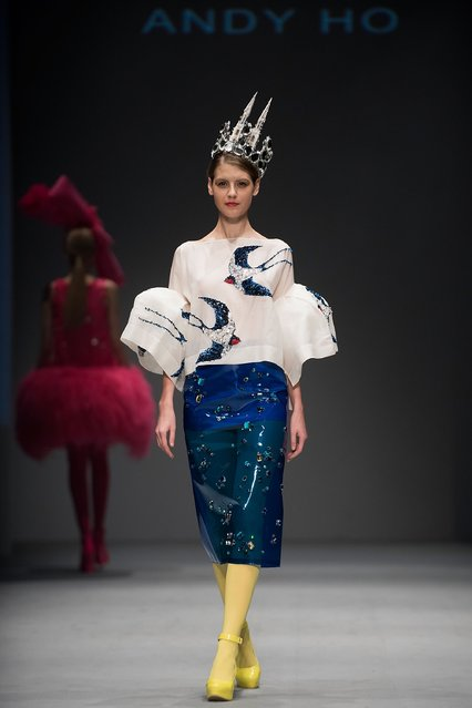 A model showcases designs by Andy Ho on the runway during the Brand Collections' Show on day 1 of Hong Kong Fashion Week Fall/Winter 2015 at the Hong Kong Convention and Exhibition Centre on January 19, 2015 in Hong Kong. (Photo by Anthony Kwan/Getty Images)