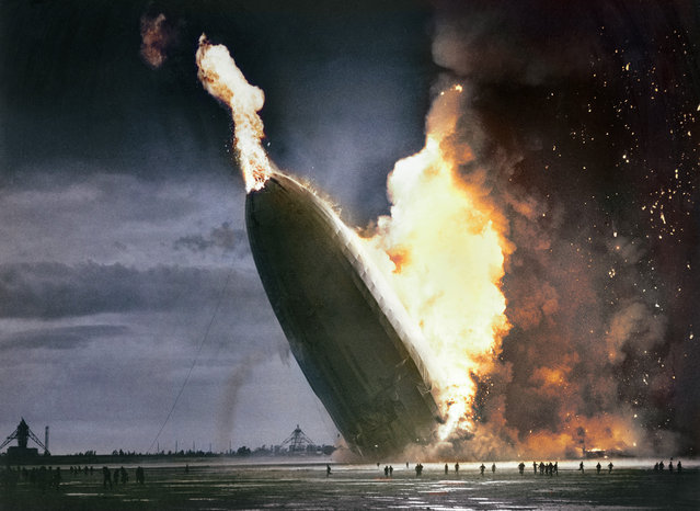 """Hindenburg"" Disaster – May 6, 1937. Colorized by Dana Keller."