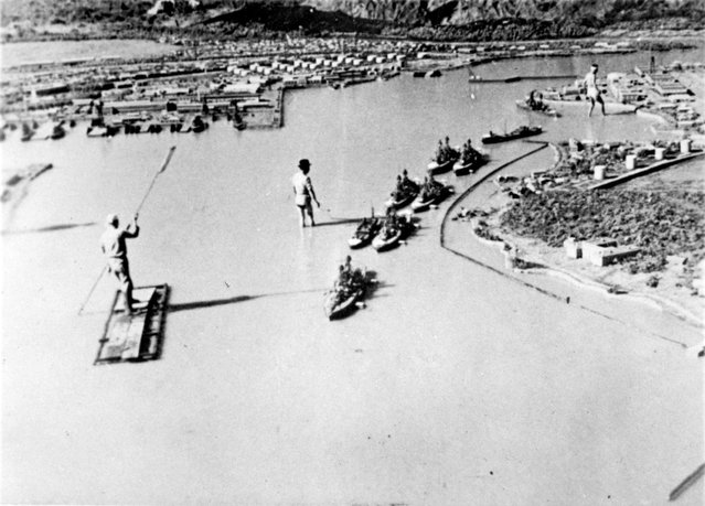 A model made for a Japanese propaganda film on the Pearl Harbor raid, showing ships located as they were during the December 7, 1941 attack, is seen in a photograph which was brought back to the U.S. from Japan at the end of World War II by Rear Admiral John Shafroth. (Photo by Reuters/U.S. Naval History and Heritage Command)