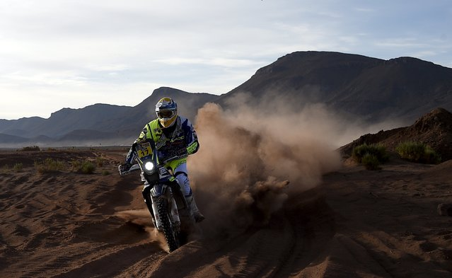 Juan Pedrero Garcia of Spain rides his Sherco TVS during of the sixth stage in the Dakar Rally 2016 near Uyuni, Bolivia, January 8, 2016. (Photo by Frank Fife/Reuters)