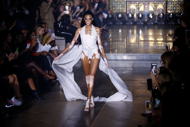 A models presents creations at the Julien Macdonald show at London Fashion Week Women's in London, Britain September 15, 2018. (Photo by Henry Nicholls/Reuters)