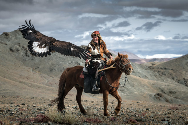 "Kordan added: ""Once the eagle reaches the age of 12, the hunters release the bird so it can live the second part of its life in freedom"". (Photo by Daniel Kordan/Caters News Agency)"