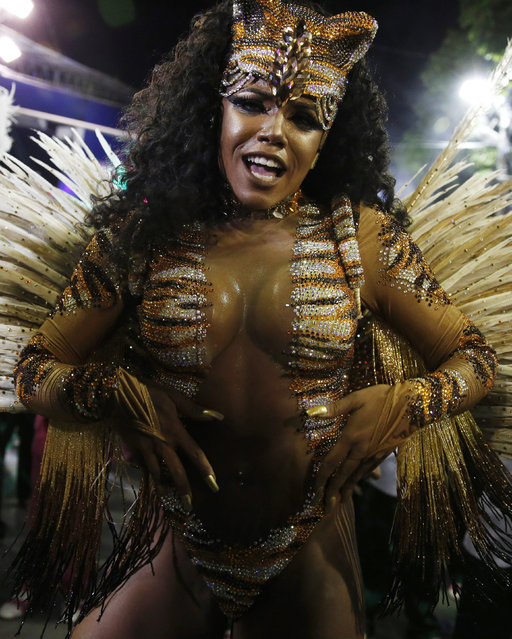 Mangueira samba school's Drum Queen Evelin performs during the carnival parade at the Sambadrome in Rio de Janeiro, February 9, 2016. (Photo by Pilar Olivares/Reuters)