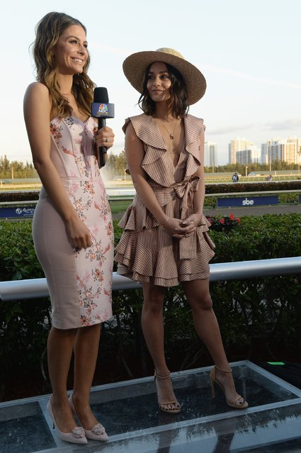Maria Menounos (L) interviews Vanessa Hudgens at The Inaugural $12 Million Pegasus World Cup Invitational, The World's Richest Thoroughbred Horse Race At Gulfstream Park at Gulfstream Park on January 28, 2017 in Hallandale, Florida. (Photo by Gustavo Caballero/Getty Images for The Stronach Group)