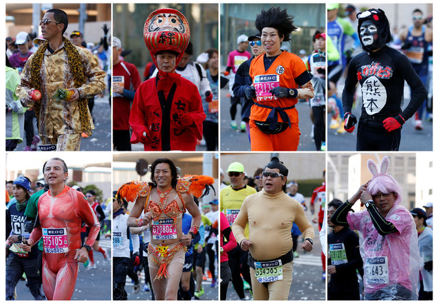 Tokyo Marathon 2017 in Tokyo, Japan on February 26, 2017. A combination picture shows participants in various costumes running at the Tokyo Marathon 2017. (Photo by Toru Hanai/Reuters)