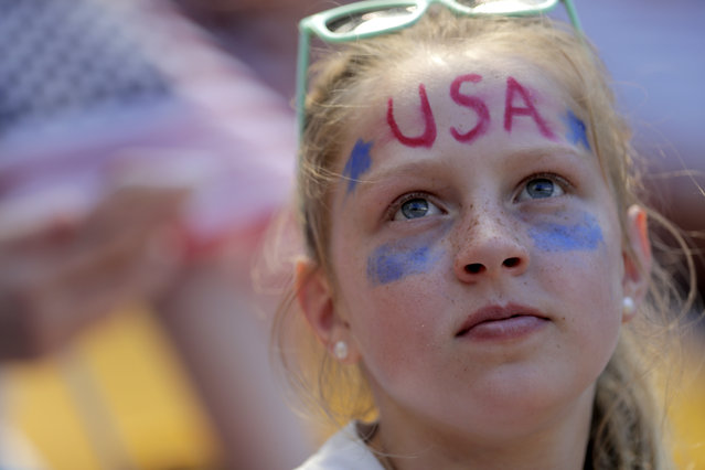 A spectator looks on prior to an international friendly soccer match between the Unites States and Mexico, Sunday, May 26, 2019, in Harrison, N.J. (Photo by Julio Cortez/AP Photo)