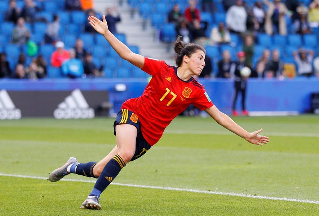 Spain's forward Lucia Garcia celebrates after scoring a goal during the France 2019 Women's World Cup Group B football match between Spain and South Africa, on June 8, 2019, at the Oceane Stadium in Le Havre, northwestern France. (Photo by Phil Noble/Reuters)