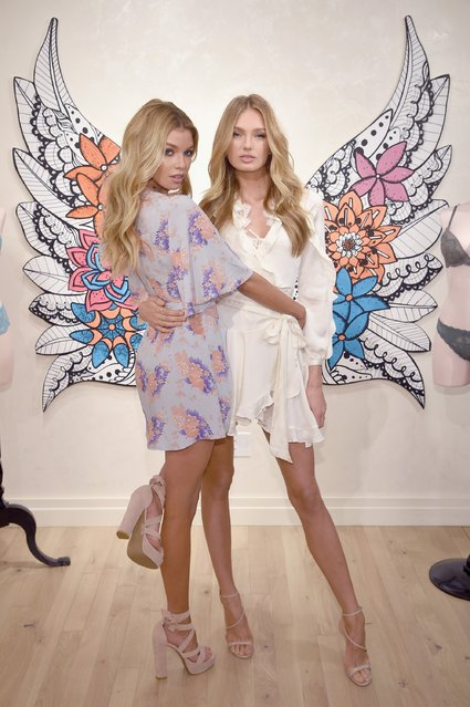 Victoria's Secret Angels Stella Maxwell (L) and Romee Strijd gear up in Dream Angels for a hot spring season on February 28, 2017 in New York City.  (Photo by Dimitrios Kambouris/Getty Images for Victoria's Secret)