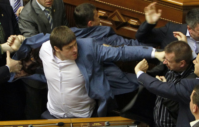 Deputies clash during a session of the parliament in Kiev April 8, 2014. (Photo by Valentyn Ogirenko/Reuters)