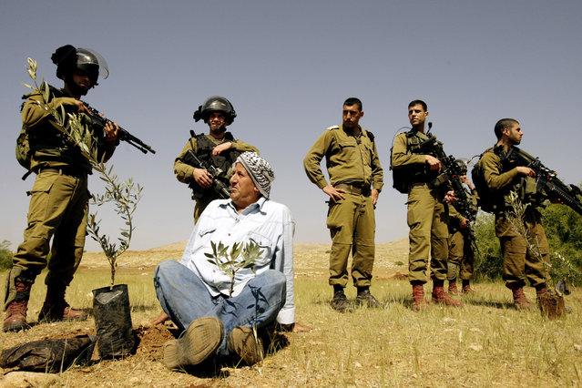 A Palestinian farmer looks at Israeli army soldiers after he planted an olive trees near the West Bank town of Tubas in the Jordan valley, during a protest against the closure of land to Palestinians by the army and Jewish settlers, Tuesday, April 8, 2014. Dozens of Palestinians protested in the Jordan valley where Palestinian sources said that Israel has closed land for the army to use for the military training. (Photo by Mohammed Ballas/AP Photo)