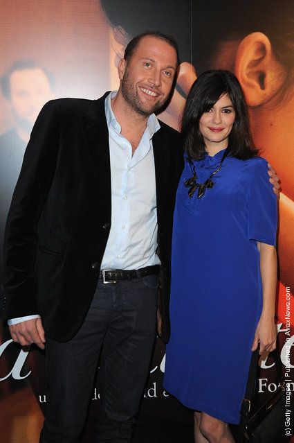 Francois Damiens (L) and Audrey Tautou (R) attend 'La Delicatesse' Paris Premiere