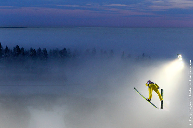 Andreas Kofler of Austria competes in the Men's Ski Jumping HS134 competition during the FIS Nordic World Ski Championships at Holmenkollen