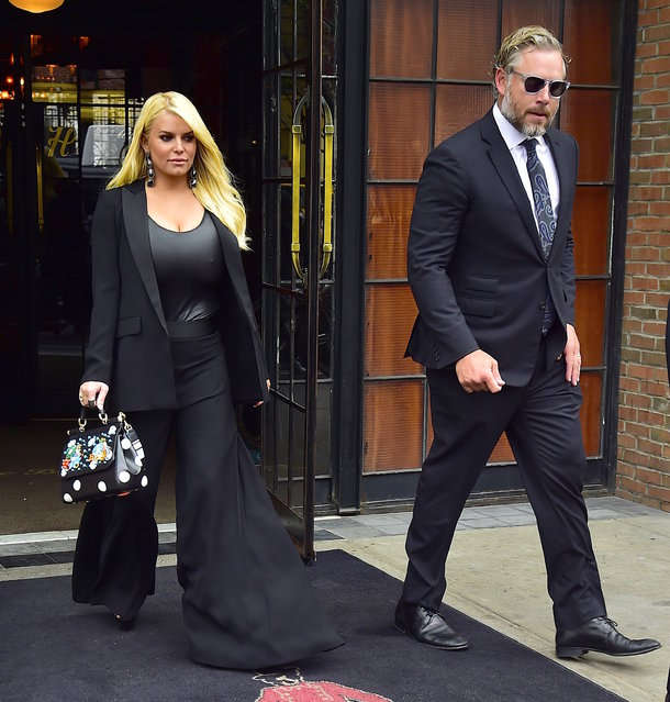 Jessica Simpson and Eric Johnson are seen in the East Village on April 20, 2017 in New York City. (Photo by Alo Ceballos/GC Images)