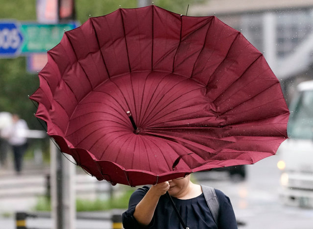 A pedestrian using an umbrella struggles against strong wind and rain generated by Typhoon Faxai, in Tokyo, Japan, 09 September 2019. Typhoon Faxai landed near Tokyo overnight affecting commuters from early morning due to suspended train and airlines services. According to latest media reports, 20 people were injured as a result of the storm. (Photo by Franck Robichon/EPA/EFE)