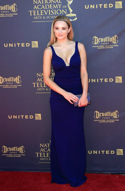 US actress Hunter King arrives for the 44th Daytime Emmy Awards at the Pasadena Civic Center in Pasadena, California, USA, 30 April 2017. (Photo by Nina Prommer/EPA)