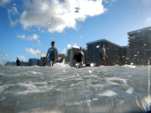 uildings are seen near the ocean as reports indicate that Miami-Dade County in the future could be one of the most susceptible places when it comes to rising water levels due to global warming in North Miami, Florida
