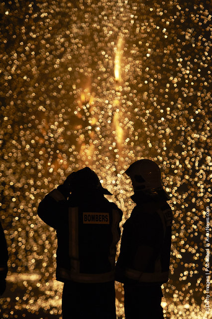 Combustible 'Ninot' caricatures burn during the last day of the 'Fallas' festival on March 19, 2012 in Valencia, Spain