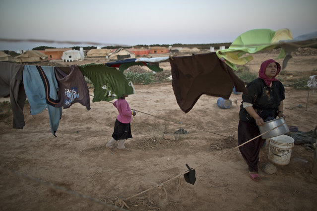 A Syrian refugee woman hangs her laundry outside her tent at an informal tented settlement near the Syrian border on the outskirts of Mafraq, Jordan, Sunday, July 26, 2015. (Photo by Muhammed Muheisen/AP Photo)