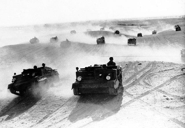 A squadron of Bren gun carriers, manned by the Australian Light Cavalry, rolls through the Egyptian desert in January of 1941. The troops performed maneuvers in preparation for the Allied campaign in North Africa