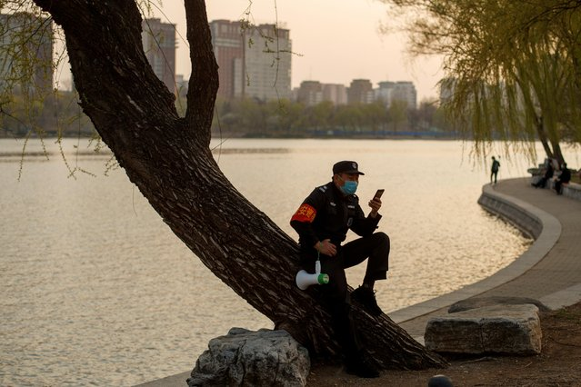 A security guard wearing a protective mask sits on a tree at a park, as the country is hit by an outbreak of the novel coronavirus disease (COVID-19), in Beijing, China on March 23, 2020. (Photo by Thomas Peter/Reuters)