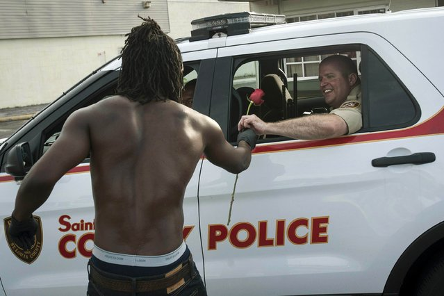 Resident John West (L) hands a rose to a police officer, showing his appreciation with help in cleanup efforts in Ferguson, Missouri, August 19, 2014. Dangerous protests continued overnight as police fired tear gas and rubber bullets as  shots were reportedly fired by people in the crowd and crowds failed to disperse. (Photo by Mark Kauzlarich/Reuters)