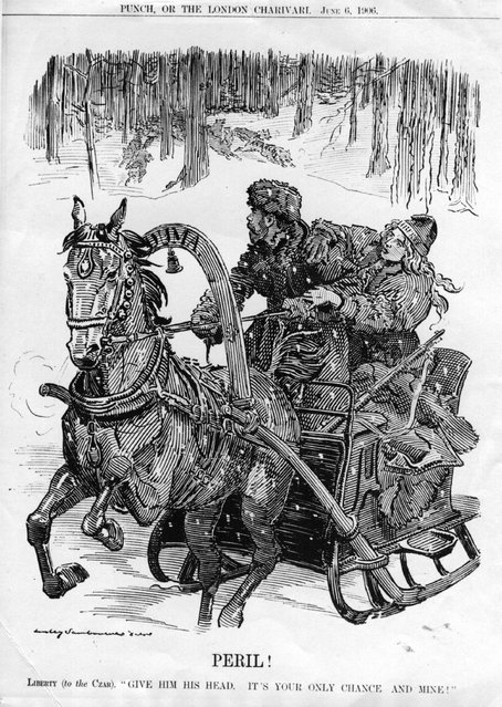 """In a cartoon called """"Peril!"""" in Punch, Liberty says to the Tsar, """"Give him his head, it's your only chance, and mine!""""  The Tsar in question is Nicholas II (1868–1918). He was forced to abdicate in 1917 and was executed with his entire family. 6th June 1906."""