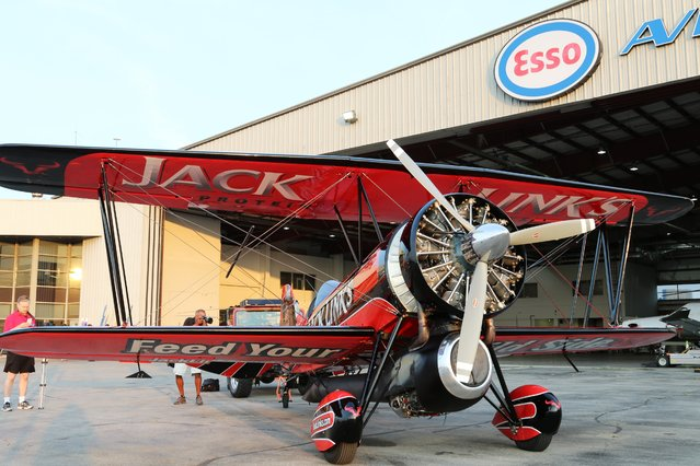 The Screamin' Sasquatch jet powered Waco Biplane sits on display during media day for the Canadian International Air Show at Billy Bishop Airport, Toronto, Ontario, September 4, 2015. (Photo by Louis Nastro/Reuters)