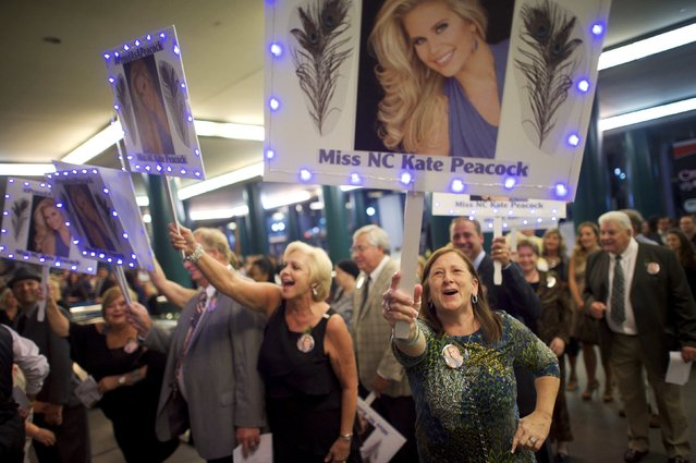 Supporters of Miss North Carolina Kate Peacock arrive at Boardwalk Hall, the venue for the 95th Miss America Pageant, that takes place tonight in Atlantic City, New Jersey, September 13, 2015. (Photo by Mark Makela/Reuters)