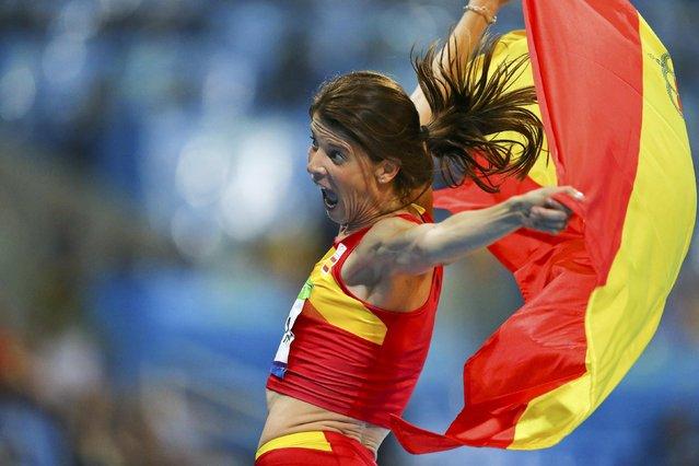 2016 Rio Olympics, Athletics, Final, Women's High Jump Final, Olympic Stadium, Rio de Janeiro, Brazil on August 20, 2016. First placed Ruth Beitia (ESP) of Spain celebrates. (Photo by Ivan Alvarado/Reuters)
