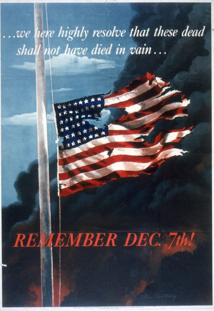 Poster features a painting (by Allen Saalberg) of a torn and ragged American flag as black smoke billows behind it, accompanied by the text '...we here highly resolve that these dead shall not have died in vain...' and 'Remeber Dec. 7th!' 1942. The quote is an excerpt from Abraham Lincoln's Gettysburg Address and references the Japanses attack on Pearl Harbor the preceeding year. (Photo by Hulton Archive/Getty Images)