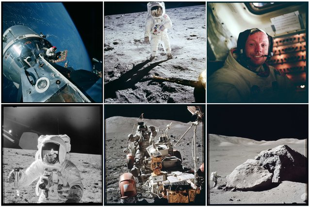 NASA handout photographs from the various Apollo missions are shown in this combination photograph. The photographs are some of more than 12,000 from NASA's archives recently aggregated on the Project Apollo Archive Flickr account. (Photo by Reuters/NASA)