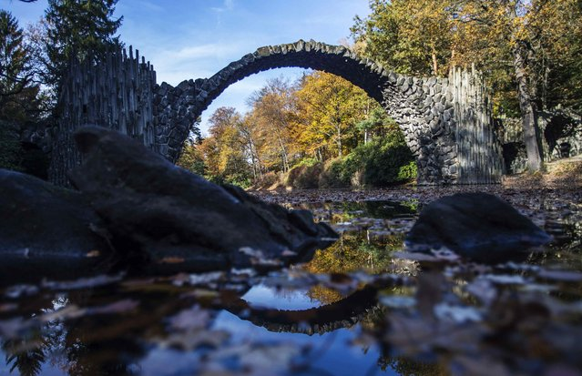 "The Bridge ""Rakotzbrücke"" is pictured against trees in autumn colours in the the eastern German town of Kromlau November 4, 2014. (Photo by Hannibal Hanschke/Reuters)"