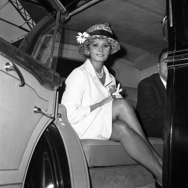 """Italian screen actress Sophia Loren sits in her car on her arrival at Victoria Station, London, May 18, 1960. Loren is in Britain to film """"The Millionairess"""" with Peter Sellers. (Photo by Laurence Harris/AP Photo)"""
