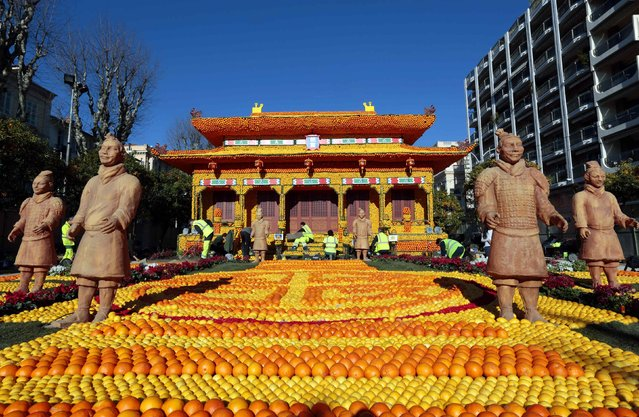 Workers put the final touches to a replica of the Forbidden City made with lemons and oranges during the 82th Lemon festival in Menton February 12, 2015. (Photo by Eric Gaillard/Reuters)