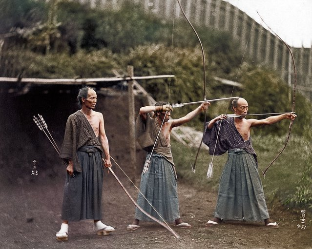 Japanese Archers, circa 1860. Colorized by Jordan J. Lloyd (photojacker on Reddit)