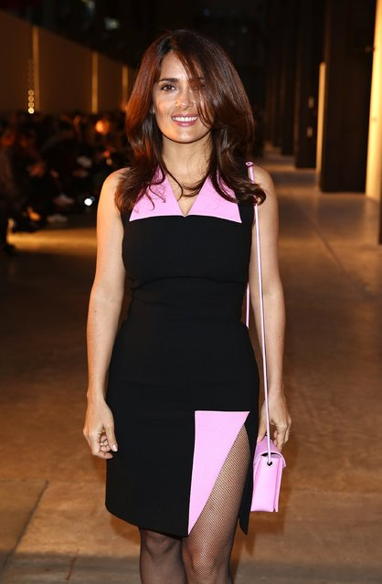 Salma Hayek attends the Christopher Kane show during London Fashion Week Fall/Winter 2015/16 at Tate Modern on February 23, 2015 in London, England. (Photo by Tim P. Whitby/Getty Images)