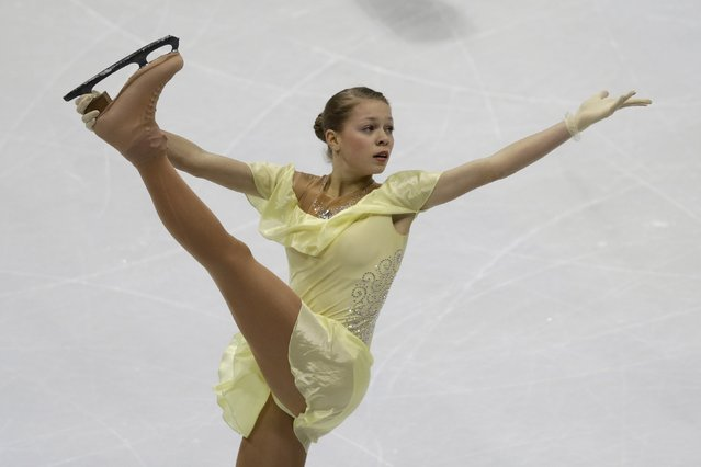 Anastasia Galustyan of Armenia performs during the ladies short program at the ISU European Figure Skating Championship in Bratislava, Slovakia, January 27, 2016. (Photo by David W. Cerny/Reuters)