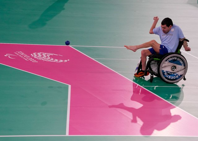 Mauricio Ibarbure of Team Argentina competes during the boccia Individual - BC1 Pool A on day 6 of the Tokyo 2020 Paralympic Games at Ariake Gymnastics Centre on August 30, 2021 in Tokyo, Japan. (Photo by Christopher Jue/Getty Images)