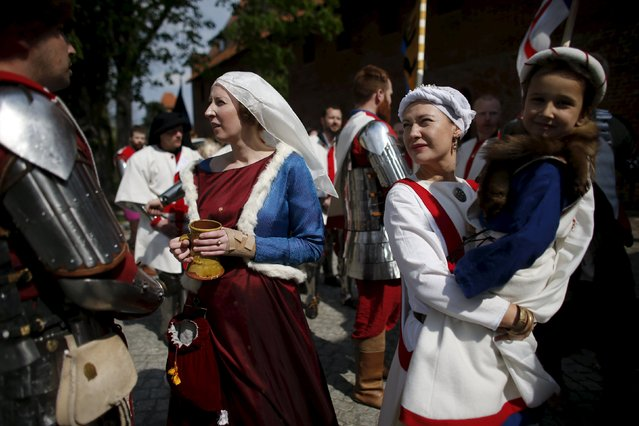 Members of the English team gather to take part in the opening ceremony parade of the Medieval Combat World Championship at Malbork Castle, northern Poland, April 30, 2015. (Photo by Kacper Pempel/Reuters)