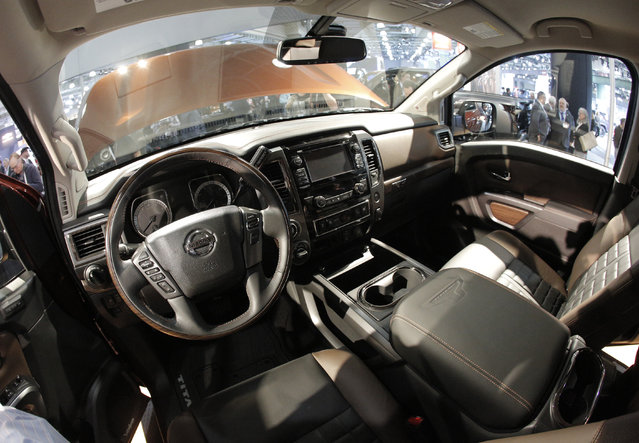 The interior of the Nissan 2017 Titan Crew Cab is seen during the media preview of the 2016 New York International Auto Show in Manhattan, New York on March 24, 2016. (Photo by Brendan McDermid/Reuters)
