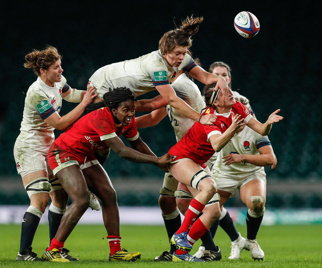 Action from the England v Canada women's rugby match at Twickenham, London on 25 November 2017. (Photo by Eddie Keogh/Reuters)