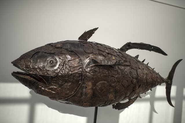 A sculpture of a tuna fish made from waste products collected from the sea is displayed during the exhibition Keep The Oceans Clean by art collective Skeleton Sea, at the Torre Madariaga Biodiversity Centre in Busturia, Spain, May 17, 2015. (Photo by Vincent West/Reuters)